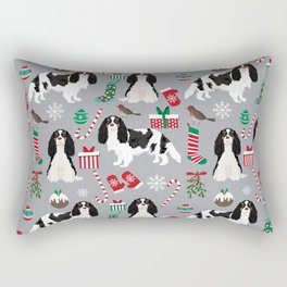 Cavalier King Charles Spaniel black and white christmas dog gifts pet friendly Rectangular Pillow