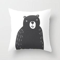 Bear Print – Charcoal and White by Tasha Johnson Throw Pillow