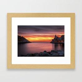 Spectacular sunset in Portovenere Framed Art Print