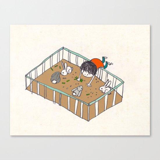 feeding the bunnies Canvas Print