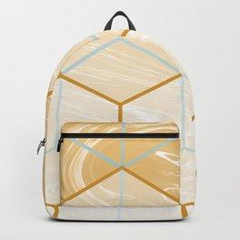 Geometric Effect Caramel Marble Design Backpack