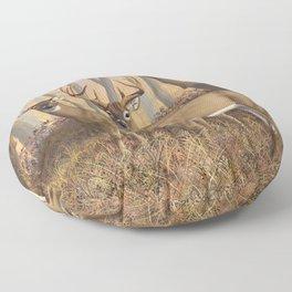 Whitetail Deer Trophy Buck and Doe in Autumn Floor Pillow