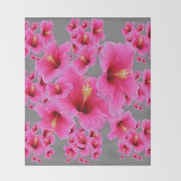 CHARCOAL GREY GIRLY PINK HIBISCUS GARDEN ART Throw Blanket