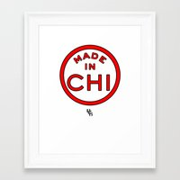 chicago bulls Framed Art Prints featuring Made in Chicago CHI BULLS by DCMBR - December Creative Group