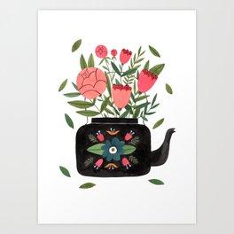 Floral Kettle Art Print