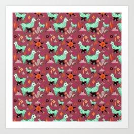 Llama At Dusk pattern Art Print