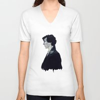 sherlock V-neck T-shirts featuring Sherlock by LindaMarieAnson