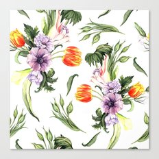 Watercolor spring floral pattern Canvas Print