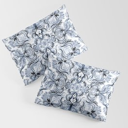 Indigo, Navy Blue and White Calligraphy Doodle Pattern Pillow Sham