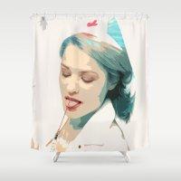 nurse Shower Curtains featuring Femsketch 4 Nurse with Syringe by thefemalephotographer
