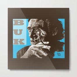 Charles BUKowski - POP-ART - sepia blue Metal Print