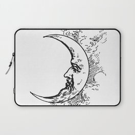 Man On The Moon Crescent Moon Black on White Laptop Sleeve