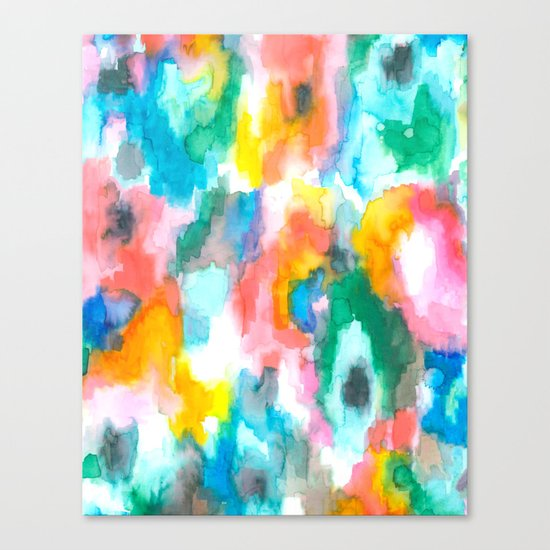 Paradise Watercolor Ikat Canvas Print