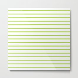 Horizontal Green Stripes Pattern Metal Print