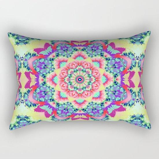 Whimsical floral kaleidoscope with butterflies Rectangular Pillow