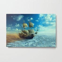 Boat -  Land -  Ice -  Water -  Landscape -  Sea -  Nature Fishing - Vintage illustration. Retro décor. Metal Print