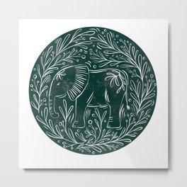 Botanical Elephant Block Print - textured green circle Metal Print