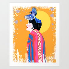Blue Jay Desert Woman Art Print