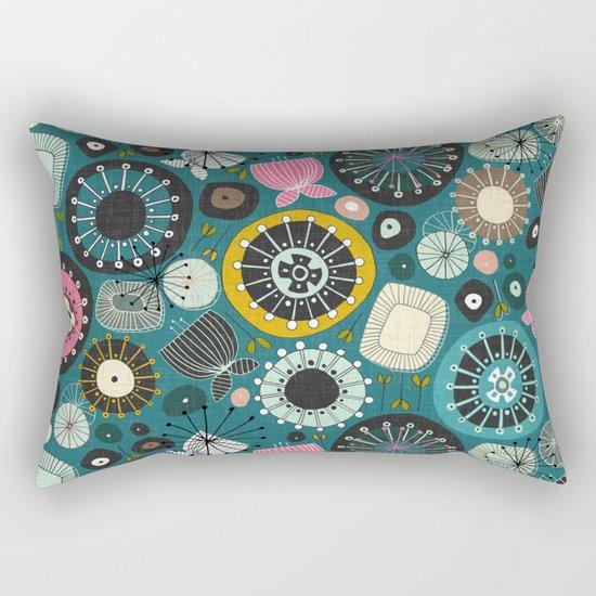 blooms teal Rectangular Pillow