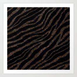 Ripped SpaceTime Stripes - Glitter Brown Art Print