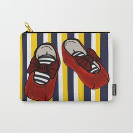 Ruby Slippers on vertical Navy and yellow stripes Carry-All Pouch