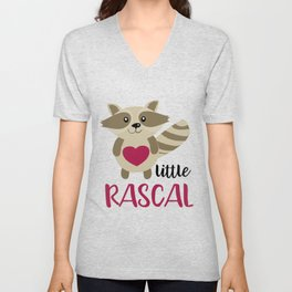 Little Rascal Raccoon Kids Cute Forest Animal Unisex V-Neck