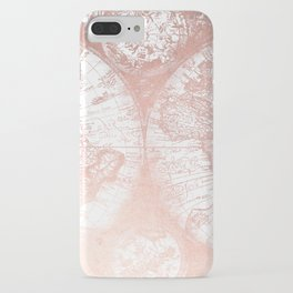 Rose Gold Pink Antique World Map by Nature Magick iPhone Case