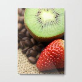 Coffee beans Kivi Strawberry Metal Print
