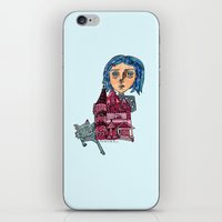 coraline iPhone & iPod Skins featuring Coraline and Kitty by Kassia M. K.