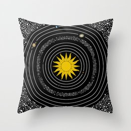 Sun Moon Stars Solar System Space Planets Astronomy Throw Pillow
