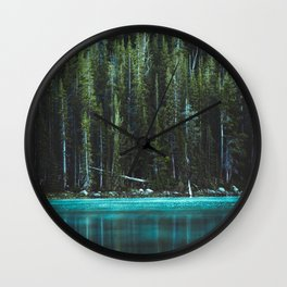 Nature Photo - Turquoise Blue Lake and Tall Pines Wall Clock