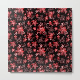 Fishnet red flowers on a black background. Metal Print