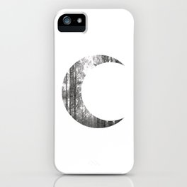 White Forest Crescent Moon iPhone Case