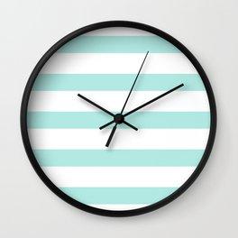 Aqua blue and White stripes lines - horizontal Wall Clock