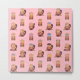 Monkey Pixel Art Emoji, Pink Metal Print