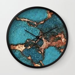 AQUA & GOLD GEMSTONE Wall Clock