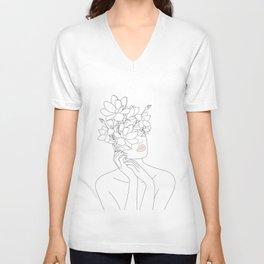Minimal Line Art Woman with Magnolia Unisex V-Ausschnitt