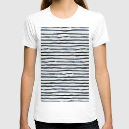 Simply Shibori Stripes Indigo Blue on Lunar Gray T-shirt