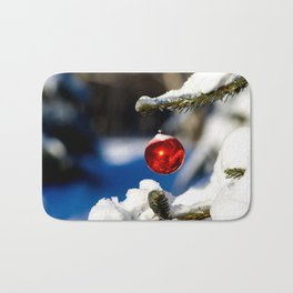 Red Christmas Ball, Sunny Day Bath Mat