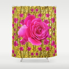 "FUCHSIA PINK ""ROSES & THORNS""  GOLD ART  ROSE  PATTERNS Shower Curtain"