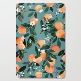 Dear Clementine - oranges teal by Crystal Walen Cutting Board