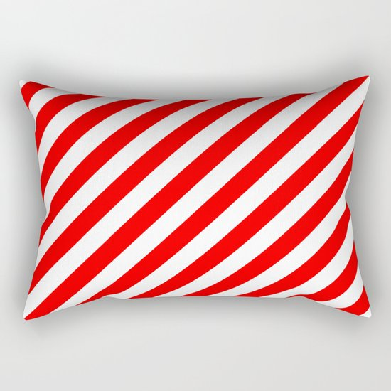 Diagonal Stripes (Red/White) Rectangular Pillow