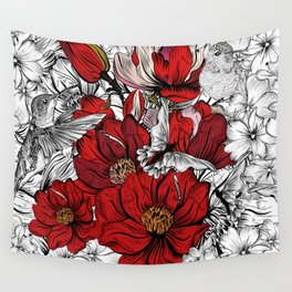 Boho Chic Red Poppy Flowers with Black and White Background Wall Tapestry