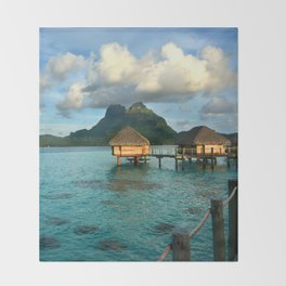 Bora Bora Tahiti Bungalow 2 Throw Blanket