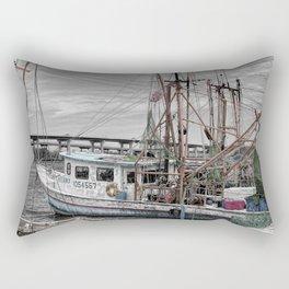 Fishing Boat in Harbor Rectangular Pillow