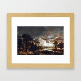 Aert van der Neer Moonlit Landscape with a View of the New Amstel River and Castle Kostverloren Framed Art Print