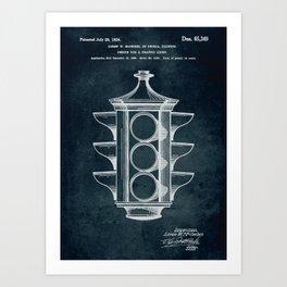 Blueprint art prints society6 1923 design for a traffic light patent art art print malvernweather Image collections