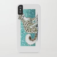 snow leopard iPhone & iPod Cases featuring Snow Leopard by Seylyn
