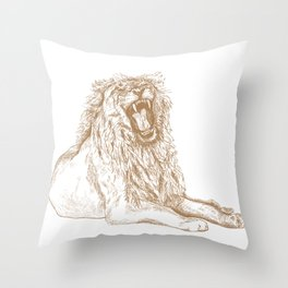 Back Off, Please in Gold | Roaring Lion Drawing Throw Pillow