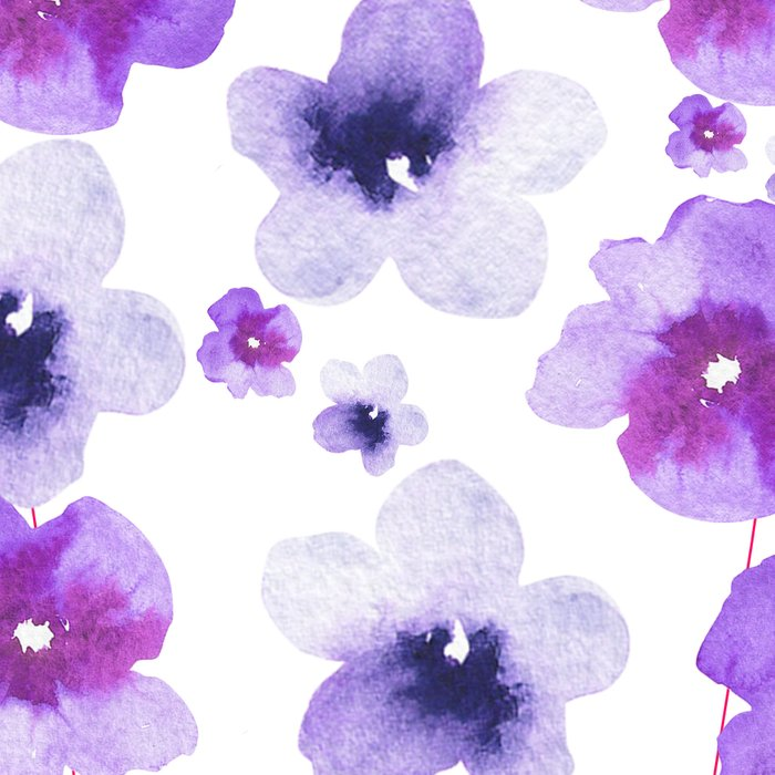 Modern purple lavender watercolor floral pattern Leggings